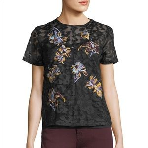 See through black lace embroidered shirt